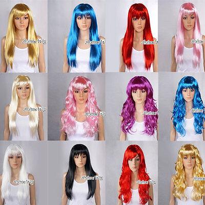60cm Glatt Curly Locken Cosplay Perücke Kostüme Party Wig verschiedene (Verschiedene Cosplay Kostüme)