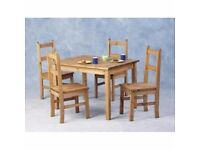 New Solid Cheap Corona Mexican Pine Compact Dining Table & 4 chairs £145 IN STOCK NOW