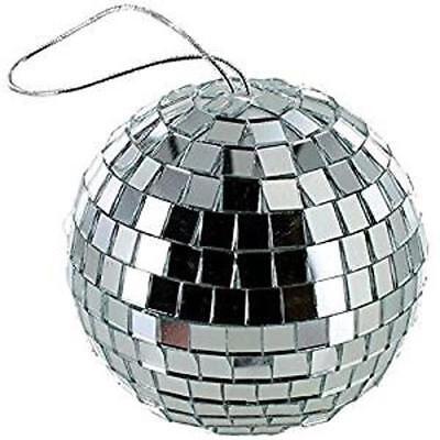 4 INCH BEAUTIFUL SILVER MIRROR BALL party supplies disco balls lights hang spin - Disco Ball Party Supplies