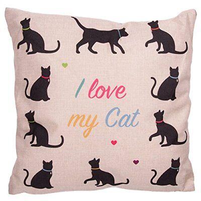 FODERA CUSCINO I LOVE MY CAT CATS CUSH70 CON IMBOTTITURA GATTO GATTI DIVANO