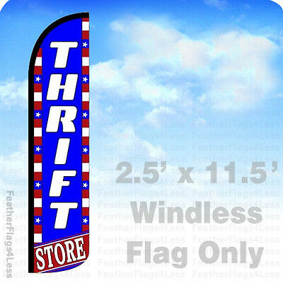 Thrift Store - Windless Swooper Feather Flag Banner Sign 2.5x11.5 - Bz