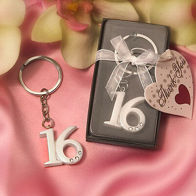 1 Sweet 16 Keychain Keyring Birthday Party Favor Key Chain Key Ring Girl Sixteen](Sweet 16 Favors)