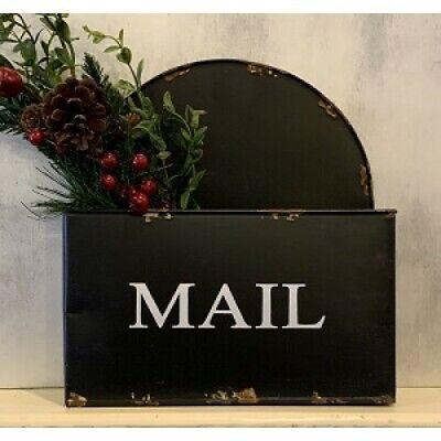 New Rustic Farmhouse Primitive BLACK MAIL BOX Metal Letter Holder Wall Basket
