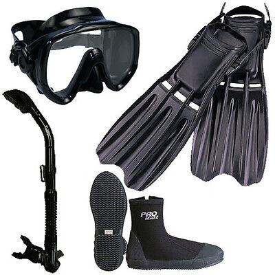 Scuba Dive Mask Dry Snorkel Boots Fins Gear Package Set - Mask Fins Snorkel Boots