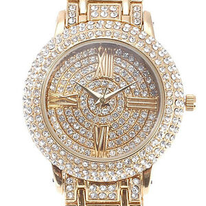 Trendy★ Alias Kim ★Golden Women Ladies Bling Crystal Bracelet Quartz Wrist Watch