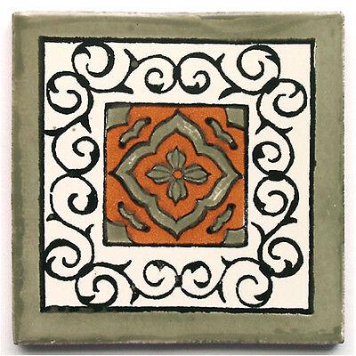"""Handbemalte Fliese /""""Grün gewaschen/"""" aus Mexiko Landhausstil Kachel ca.10x10cm"""