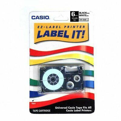 Casio Xr-6wes 1pk Label Printer Tape 14in Labl 6mm Black On White Xr6wes
