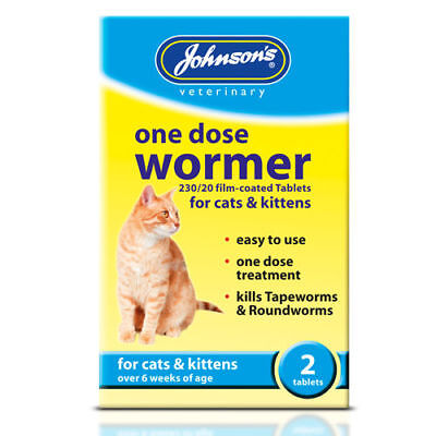 Johnsons One Dose Cat Wormer Worming Tablets Cats & Kittens Tapeworms Roundworms