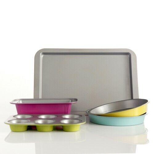 5 Piece Bakeware Set Kitchen Baking Loaf Muffin Pan Cake Pan