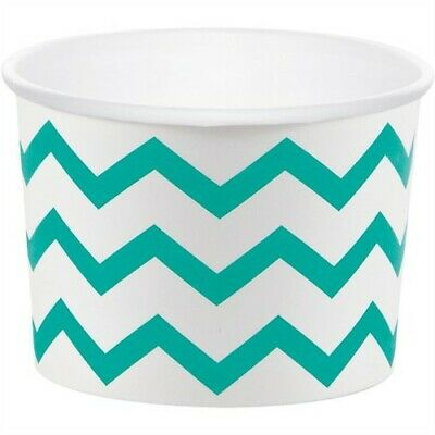 Teal Lagoon Chevron Stripe Paper Treat Cups Party Supplies Decorations