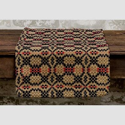 WOVEN TABLE RUNNER PATRIOTS KNOT BLACK RED TAN 31
