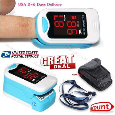 Usa Led Finger Tip Pulse Oximeter Spo2 Pr Blood Oxygen Heart Rate Monitor Case