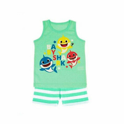 Pinkfong baby shark green stripe sleeveless pajama set for 3 years old(standard) (Batman Pajamas For Babies)