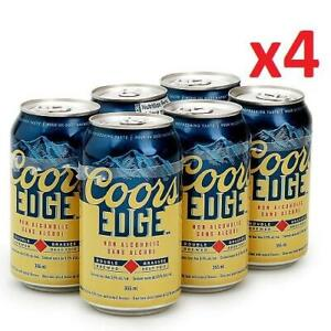 4 NEW COORS EDGE 355ML CAN 6PK 234425657 24 NON ALCOHOLIC BEER 0.5% ABV 24 TOTAL CANS 355ML EACH