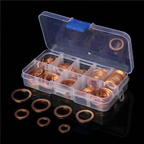120PCS Copper Crush Washer Gasket Set Flat Ring Seal Assortm