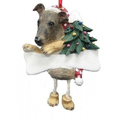 Greyhound Brindle Dangling Wobbly Leg Dog Bone Christmas Ornament