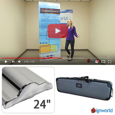 Retractable Roll Up Banner Stand Height Adjustable Trade Show Display Hd 24