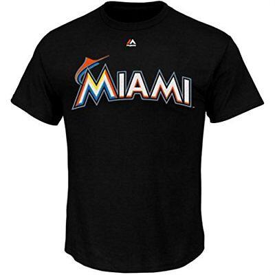 Miami Marlin Tee (Miami Marlins Majestic Black Primary Logo Jersey T-Shirt )