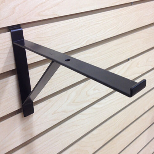 "12"" Heavy Duty Slatwall Shelf Brackets With Support - Epoxy Black - Pack of 10"