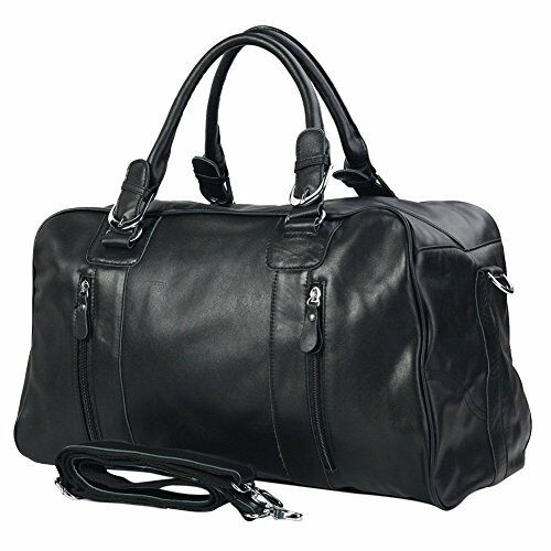 350899 Mens L Black Leather Gym Sports Weekend Travel Duffle Bags ...
