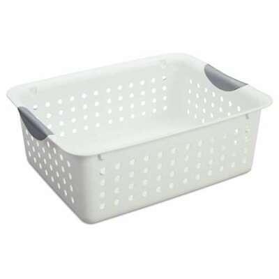 Sterilite Medium Ultra Plastic Storage Bin Organizer Basket 12 Pack Open Box