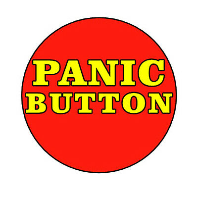 PANIC BUTTON pin badge funny novelty stress relief relaxation anxiety red
