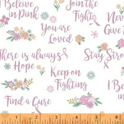Breast Cancer Awareness Fabric - Believe in Pink Words on White - Windham YARD Breast Cancer Awareness Fabric