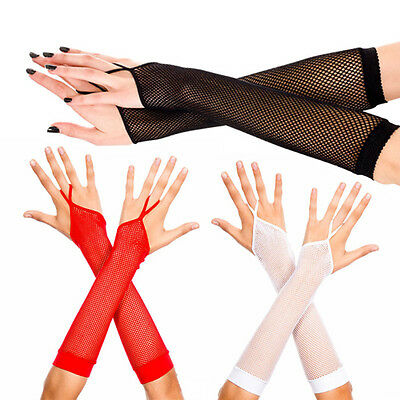 Punk Goth Fishnet Fingerless Finger Loop Gloves Arm Warmers Rave Fashion Costume