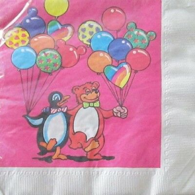 LISA FRANK VINTAGE LUNCH NAPKINS (16) ~ Birthday Party Supplies Serviettes Pink