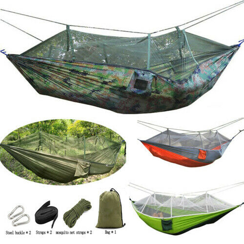 Camping Outdoor Mosquito Net Nylon Hammock Hanging Sleeping Swing Parachute Bed