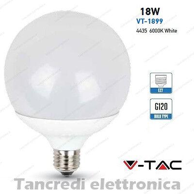 Lampadina led V-TAC 18W = 115W E27 bianco freddo 6000K VT-1899 globo...