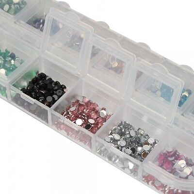 New 12 Colors 3000 Pcs Rhinestones Round 2.0mm for Nail Art or DIY