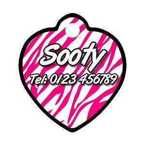 Personalised-Heart-ID-Pet-Cat-Metal-Name-Tag-For-Collar-Pink-Zebra-Union-Jack