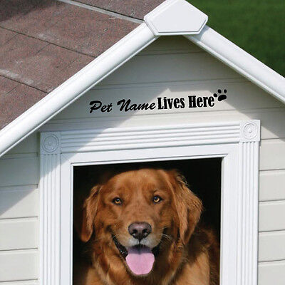 CUSTOM PET NAME LIVES HERE KENNELS DOG CAT STICKER Decal Car Vinyl Personaliz...