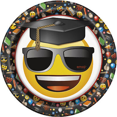 GRADUATION Emoji Grad LARGE PAPER PLATES (8) ~ Birthday Party Supplies Dinner