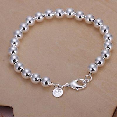 Women Fashion Jewelry 925 Sterling Silver Plated 8MM Bead Bangle Charm Bracelet