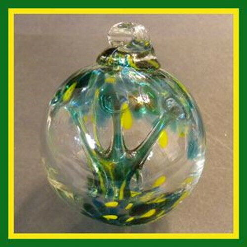 """Hanging Glass Ball 3"""" Diameter """"Spring Tree"""" (1) WB338 Witch Ball"""