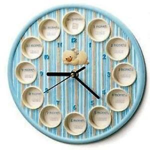 RUSS-MY-FIRST-YEAR-PHOTO-FRAME-WALL-CLOCK-BLUE-GIFT-NEW