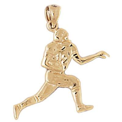 New 14k Gold Football Player Pendant