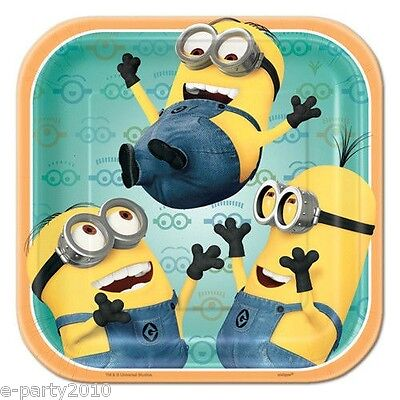 DESPICABLE ME 2 SMALL SQUARE PAPER PLATES (8) ~ Birthday Party Supplies Cake ()