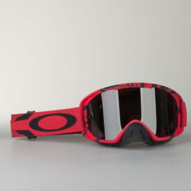 New Adult Oakley O Frame 2 Tear Off Goggles Motocross Enduro BLOOD RED Grey Lens