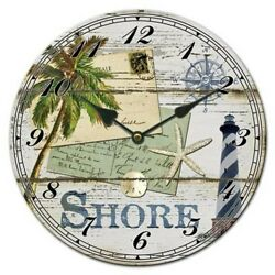 Shore Round Hanging Ceramic Wall Clock Battery Operated  Approx 113/4 Diameter
