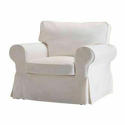 Ikea COVER for EKTORP Chair, BLEKINGE WHITE, Cotton Armchair Slipcover New