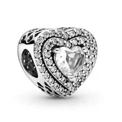 New Authentic Pandora Charm Silver S925 Sparkling Leveled Hearts Bead#799218