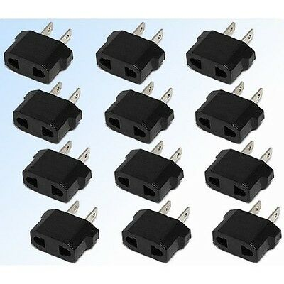 2-Prong European (Round) to American (Flat) Wall Outlet Plug Adapter 12-Pack