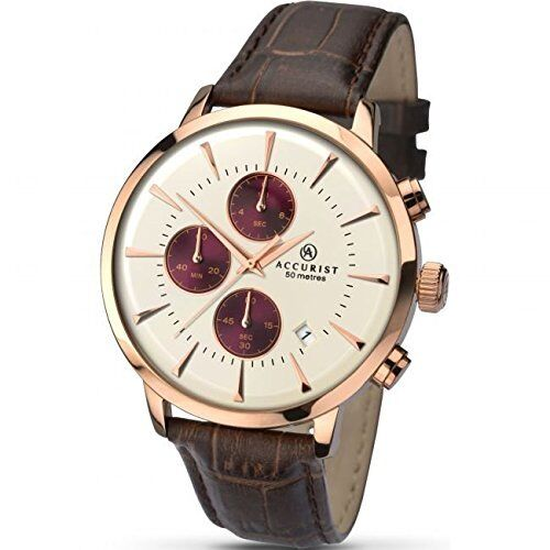 mens accurist london chronograph watch 7034 accurist mens chronograph brown leather strap watch 7034 rrp £115
