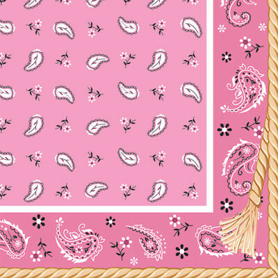 WESTERN Pink Bandana Cowboy LUNCH NAPKINS (16) ~ Birthday Party Supplies Dinner (Pink Bandana Napkins)