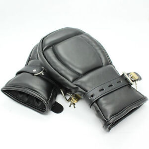 Straight jacket, leather puppy mitts hand restraints