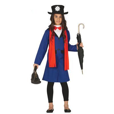 costume mary poppins bambina 5-6 anni baby sitter film vestito carnevale bambina
