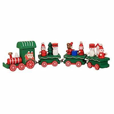 Happyyami Christmas Train Decorations Mini Wooden Train Set Toys Party Decoratio